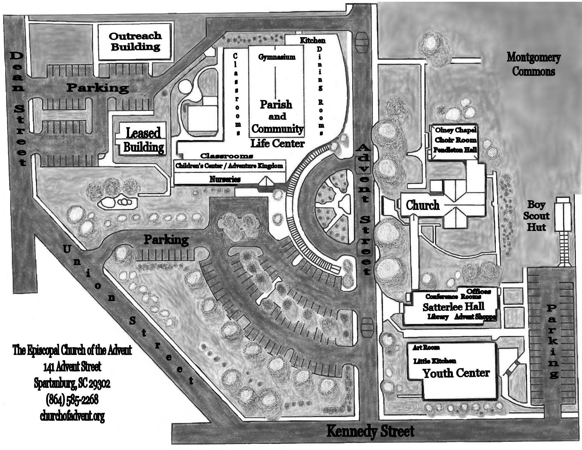 Holy Family Campus Map.Episcopal Church Of The Advent Spartanburg Sc Campus Map